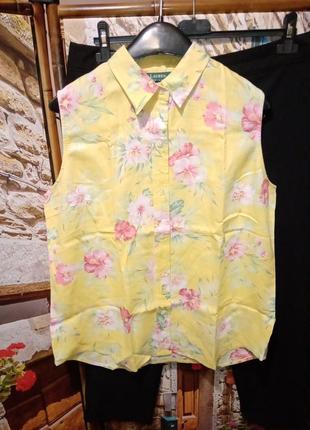 Льняная блуза в цветы без рукавов ralph lauren