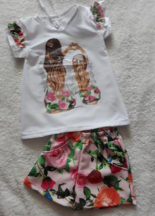 Літній комплект на дівчаток шорти та блуза 98-128