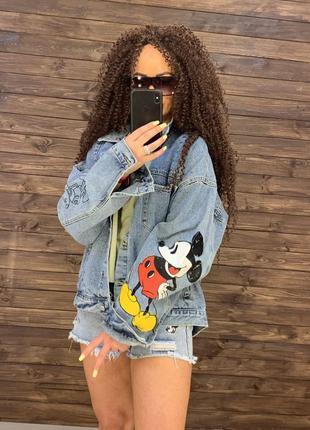 Джинсовка джинсовая куртка микки