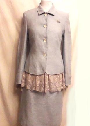 Винтажный дизайнерский костюм из шелка и льна нежно-голубого цвета etienne aigner, р.38