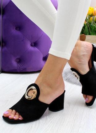 Шикарные босоножки чёрные на каблуке