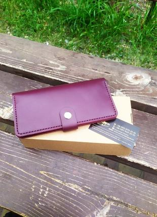 Женский кожаный кошелёк,ручная работа.