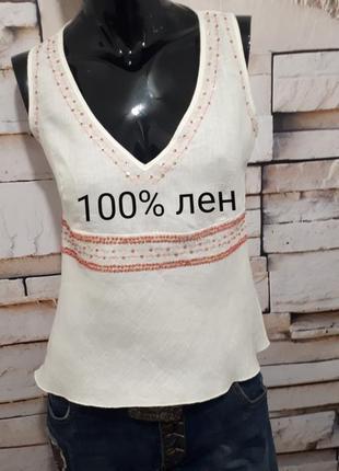 Сезонная скидка/топ блуза с вышивкой. 100% лен