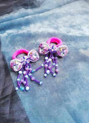 Резинки для волос для девочки сутаж ручная работа