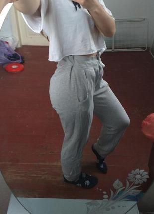 🖇сірі спортивні штани з високою посадкою