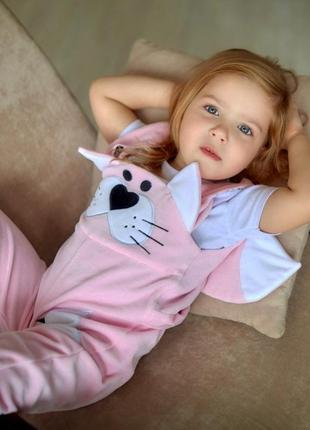 Кити комбез деми для девочки, ромпер летний малышке, розовый комбинезон на девочку,