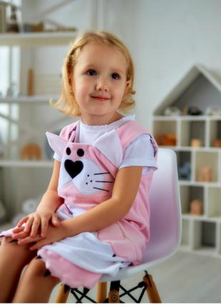 Велюровое платье для малышки кити,  розовый сарафан детский, сарафан с котиком