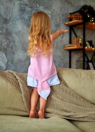Велюровое платье для малышки кити,  розовый сарафан детский, сарафан с котиком4 фото