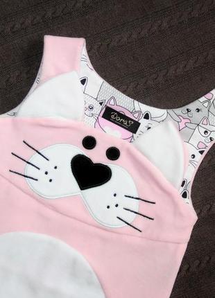 Велюровое платье для малышки кити,  розовый сарафан детский, сарафан с котиком7 фото