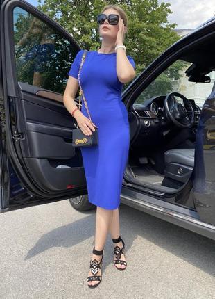 Синее платье футляр, платье миди, силуэтное платье, трикотажное платье