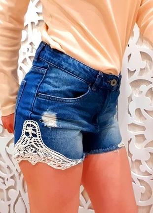 Шорты бренд zara испания джинсовые ажурные высокая посадка крутые 27 s
