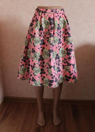 Удивительная юбка миди, розовая, плотная, в цветочный принт