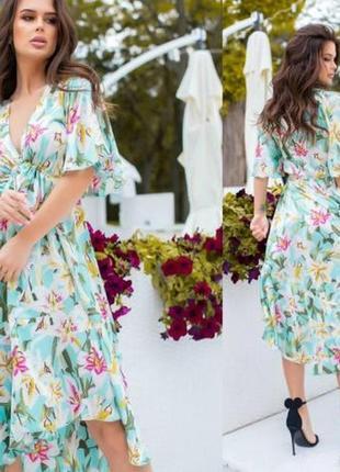 Платье в цветы шелк армани
