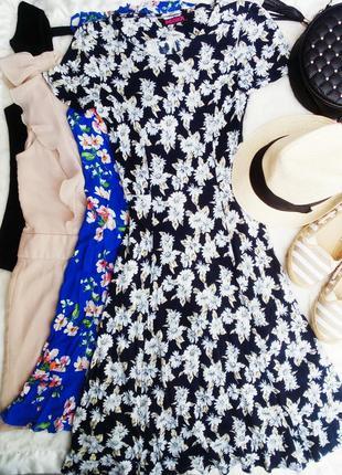 Пышное платье миди в цветочный принт юбка солнце