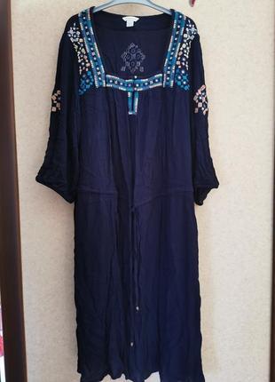 Платье, туника натуральное вискозное с вышивкой