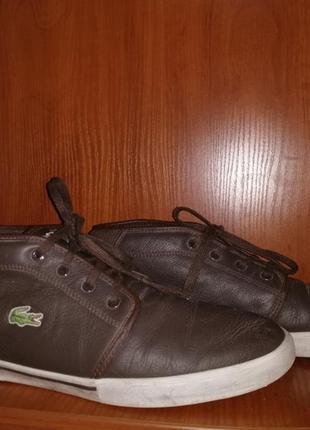 🔥стильные мужские фирменные кожаные кеды, ботинки lacoste оригинал 44,5 р.🔥