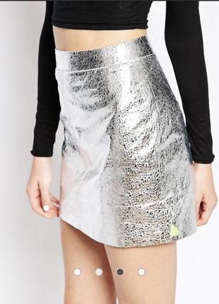 Мини юбка с аффектом металлик pippa lynn