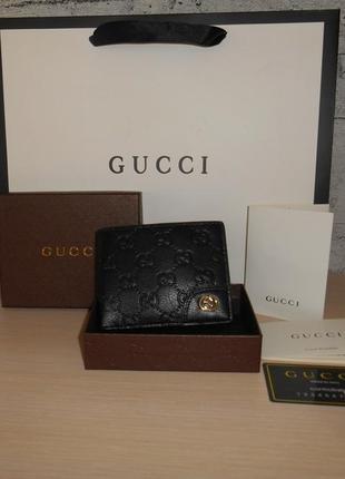 Мужской кошелек, портмоне, бумажник gucci, кожа, италия 9978
