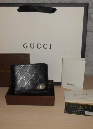Мужской кошелек, портмоне, бумажник gucci, кожа, италия 9978r