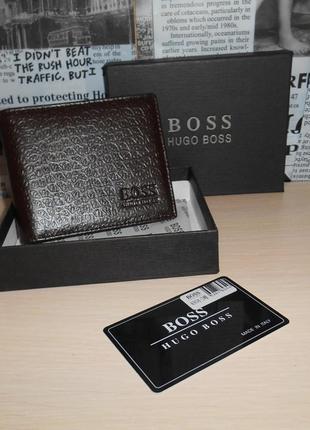 Мужской кошелек, портмоне, бумажник hugo boss, кожа, италия