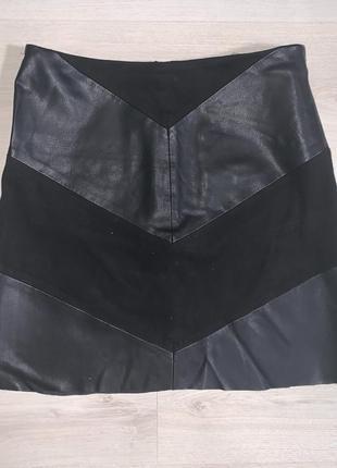 Кожанная замшевая юбка