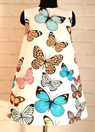 Детский сарафан. бабочки. сарафан на лето для девочек. 100% хлопок. 110-146
