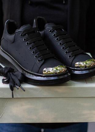 Кроссовки alexander mcqueen с железным носком черного цвета (36-40)