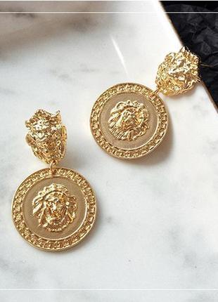 Серьги львы в стиле версаче versace - модная бижутерия тренд!
