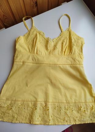 Шикарная брендовая летняя майка, футболка,блузка блуза кружево  ажурная