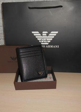 Мужской кошелек, портмоне, бумажник armani, кожа, италия