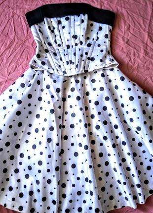 Свадебное платье-трансформер белое в черный горох,  корсет, юбка.