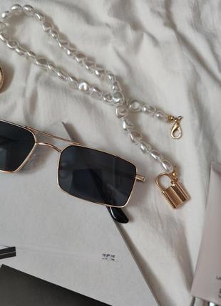 Очки окуляри стильные в стиле 90-х трендовые черные солнцезащитные новые4 фото