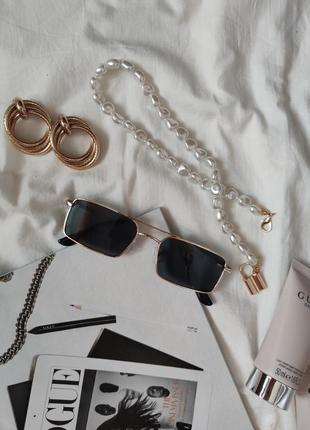 Очки окуляри стильные в стиле 90-х трендовые черные солнцезащитные новые3 фото