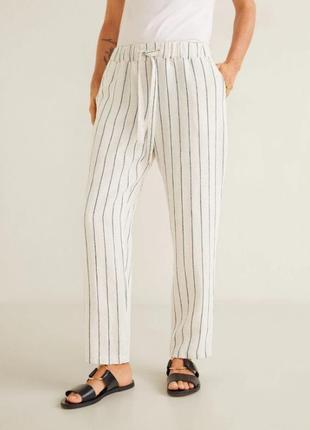 Трендовые льняные штаны, брюки м, 38 euro mango, оригинал