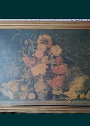 Репродукция картины и. хруцкого цветы и плоды 1839г.