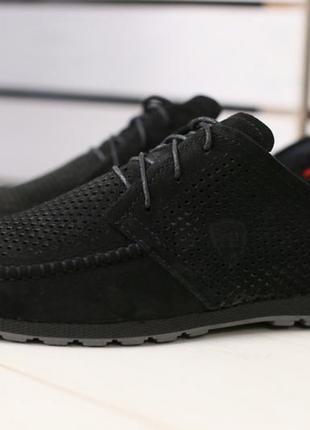 Скидка!мужские черные туфли из нубука с перфорацией