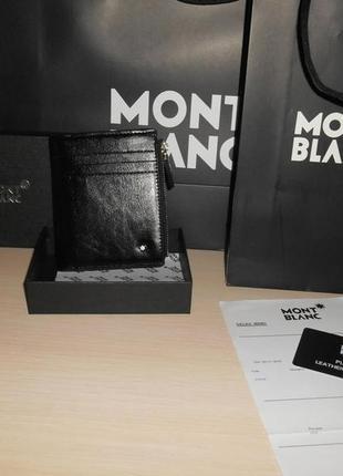 Мужской кошелек, портмоне, бумажник mont blanc, кожа, италия 1782