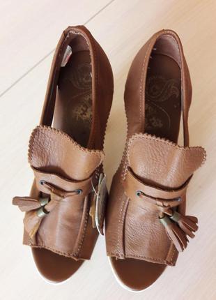 Туфли , лоферы с открытым носком, босоножки, кожа, новые, 38р