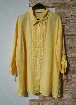 Шикарная солнечная льняная рубашка, блуза 100% лён