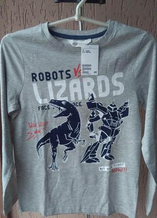 Новый реглан кофта свитер с динозаврами роботами