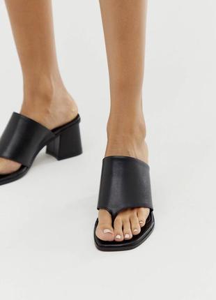 Новые трендовые вьетнамки мюли шлепанцы на каблуке натуральная кожа