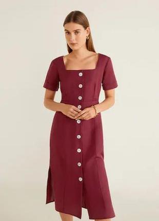 Mango женственное платье льняное на пуговицах винного цвета,бордо