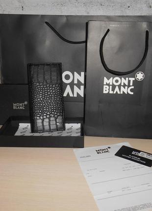 Мужской кошелек, портмоне, бумажник mont blanc, кожа, италия 78-004