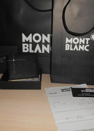 Мужской кошелек, портмоне, бумажник mont blanc, кожа, италия 38-009