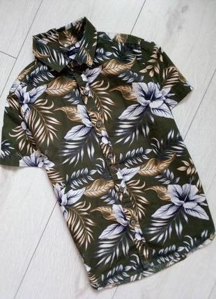 Летняя рубашка тропичный принт