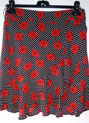 Качественная юбка на запах в горошек и цветочный принт
