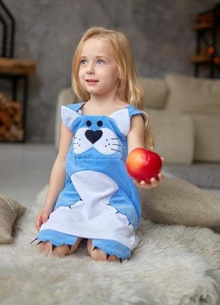 Сарафан на малышку, велюровое платье китти, детский сарафан малышке, дитяча сукня,3 фото