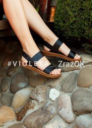 Босоножки резинки черные сандали шлепки шлепанцы