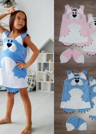 Сарафан на малышку, велюровое платье китти, детский сарафан малышке, дитяча сукня,