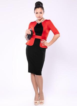 Новое платье с биркой, черное со стилизованным пиджаком и поясом красного цвета